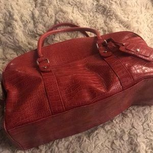 Red croc tote bag carry on luggage large size